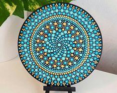 Turquoise Mandala Art - Dot Art - Painted Wood - Hand-Painted Meditation Mandala Rock - Home Decor - Chakra Painting - Boho - Paint Rock