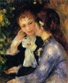 Confidences (Two Best Friends) - Pierre-Auguste Renoir - Hand-Painted Art Reproduction