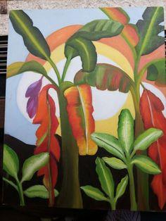 Banana tree painting  Size 16×20