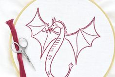 Embroider a Fantasy Dragon With This Free Pattern