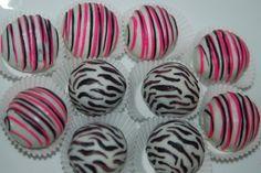 Birthday party zebra cake balls