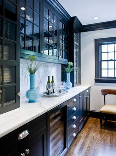 Built in china hutch for the dining room and in white with the marble.