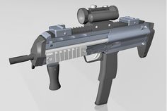 3D H&K MP7 assault rifle weapon model in FBX 3D model format that works with most 3D modeling software.