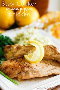 Slow Cooker Lemon Chicken ~  One of the most flavorful and melt in your mouth chicken that you will make in your crockpot!  Absolutely amazing!