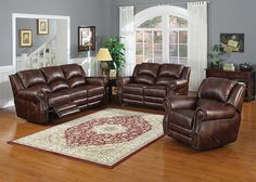 FULTON The Fulton living room collection is a traditional set built with comfort in mind. Each piece features rolled arms, decorative stitching, and classic nailhead trimmings. Plush cushioning is upholstered in a softly marbled brown reconstituted leather. Fulton's secret blend of posh elegance and relaxing comfort lies in dual manual reclining seats in both the loveseat and sofa, and matching manual reclining armchair.