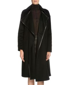 W0BQZ TOM FORD Leather-Trimmed Cashmere Coat, Black