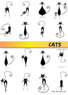 stick figure black cat vector