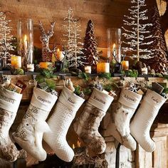 déco noël 2017 rustique pour la cheminée #Noël #christmasdecorations #trends