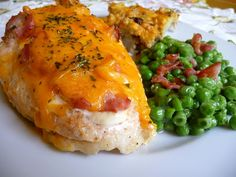 BACON CHEDDAR CHICKEN BREASTS - Could not be more simple and so tasty!  Yep, I had some peas...not for those on a strict low-carb diet, but in maintenance, no problem. Visit us at: https://www.facebook.com/LowCarbingAmongFriends