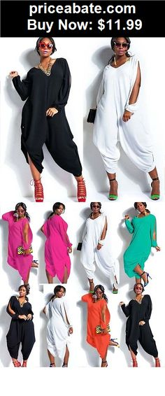 Jumpsuits-And-Rompers: M-4XL Women Sexy Loose Long Sleeve Jumpsuit Romper Playsuit Clubwear Plus Size - BUY IT NOW ONLY $11.99
