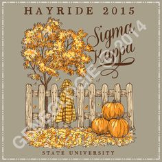 Geneologie | Greek Tee Shirts | Greek Tanks | Custom Apparel Design | Custom Greek Apparel | Sorority Tee Shirts | Sorority Tanks | Sorority Shirt Designs  | Sorority Shirt Ideas | Greek Life | Hand Drawn | Sorority | Sisterhood | Sigma Kappa | Sig Kap | Fall | Autumn | Pumpkin | Hayride | Social