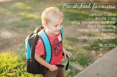 """Pinner said: """"My little man-first day of Preschool """"favorite things"""""""" Love this idea! First Day Of Preschool Picture Ideas, Preschool Pictures, 1st Day Of School, School Days, School Stuff, Car Activities, Three Boys, Toddler Boys, Kids"""