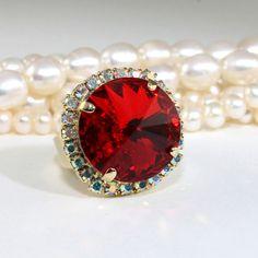Red Ring Crystal Ring Ruby Red Adjustable Valentine's Halo Ring Statement Ring Round Cocktail 18mm Rivoli Swarovski crystal Gold finish GR48