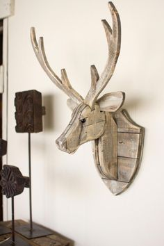 1600 wood plans - The Kalalou Recycled Wooden Deer Head Wall Hangingwill give an eye-catching look to your wall. ThisDeer look natural and have a great finish. The Deer Head Wall Woodworking Drawings - Get A Lifetime Of Project Ideas and Inspiration! Easy Woodworking Projects, Diy Wood Projects, Woodworking Plans, Woodworking Furniture, Popular Woodworking, Woodworking Shop, Woodworking Workshop, Simple Projects, Lathe Projects