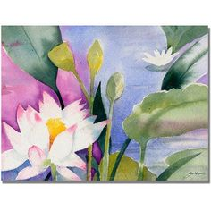 Trademark Art Lotus Pond Canvas Art by Shelia Golden, Size: 24 x 32, Multicolor