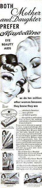 Maybelline for both mother & daughter alike, November 1934. #vintage #beauty #makeup #1930s