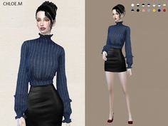 Blouse with falbala for The Sims 4