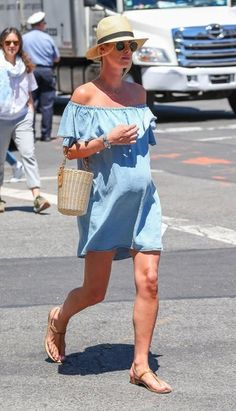 Nicky Hilton Maternity Dress - Nicky Hilton showed off her breezy maternity style with this denim off-the-shoulder dress by Zara while out in New York City.