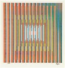 In Deep Prayer - Yaacov Agam, Nationality: Jewish Art Movement: Concrete Art (Concretism), Kinetic art, Op Art Field: sculpture, installation