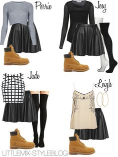 *REQUESTED* LM Inspired with a Black Skater Skirt and Timberlands by littlemix-styleblogfeaturing a flared leather mini skirt Topshop gray shirt / River Island sequin tank, $42 / Fashion Union white top, $30 / Alice Olivia flared leather mini skirt / Miss Selfridge Long Sleeve Mesh Panel Body / Topshop fishnet tight / Topshop thin cotton socks / Cotton socks / Timberland genuine leather boots, / Henri Bendel swarovski crystal jewelry