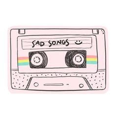 Adesivo Sad songs :) de Vitor Martinsna #colab55. Tags: rosa, musica, vintage, fita cassette, songs, fita k7, sad songs, ilustraçção