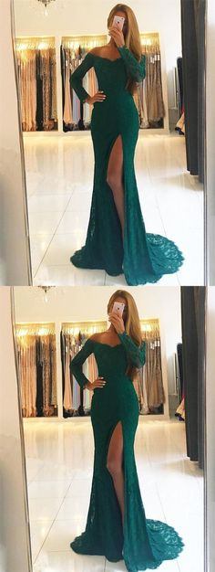 elegant off the shoulder prom dress with split, fashion green lace mermaid party dress with slit