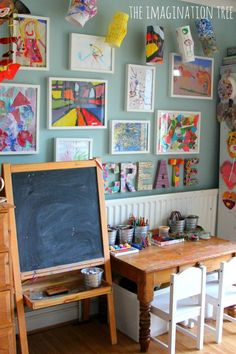 Love love love this art space for kids! The colors, furniture, and materials, are so inviting.