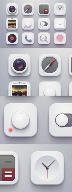 "Their lineup of App Icons has strong conveyance of materials and a general ""feel"" of elegance. Very clean with no excess information so people can understand the app's function at-a-glance. App Icon Design, App Design Inspiration, Launcher Icon, 3d Icons, Mobile Icon, Ios Icon, App Logo, Phone Icon, Mobile App Design"