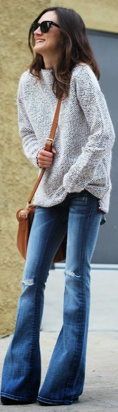 flares and chunky sweater