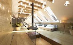 Luksusowe poddasze z kominkiem w willi pod miastem. Wnętrze poddasza zaprojektowane jako strefa relaksu, wykończona jasnym drewnem.