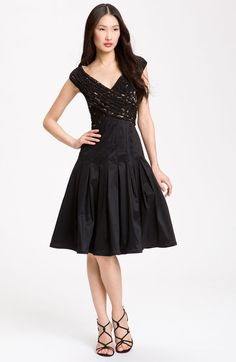 Adrianna Papell Lace & Taffeta Dress in Black - Lyst