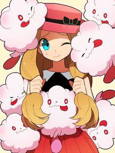 blue_eyes cheek_press hat highres li_sakura one_eye_closed pokemon pokemon_(game) pokemon_xy serena_(pokemon) sweatdrop swirlix too_many wink