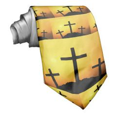 Old Wooden Cross on Calvary Hill at Sunset printed on tie.