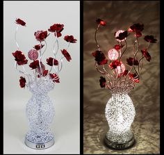 http://www.wirelamps.co.uk/WLT30695SilverRed.html  Woven Wire Silver Medium Sized Table Lamp with Red Flowers