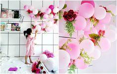 Basteln Sie die rosa Luftballongirlande mit Blumen zum Frühling