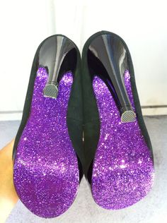 How to Make Glitter Bottomed Heels - wonder if I could use this on the main part of the shoe?!