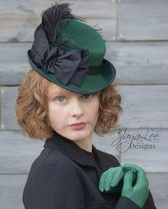 Green Tilt Top Hat Victorian Steampunk Style by GreenTrunkDesigns