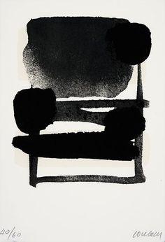 gacougnol:  Pierre SoulagesSerigraphie N° 6 1975/76 Screen printing in Black & Beige on rag paper