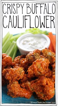 Crispy Buffalo Cauliflower Spiced corn flake coated florets are baked making these an easy healthy alternative to chicken wings. Great appetizer for the Super Bowl or any bar night. Healthy Recipes, Healthy Snacks, Vegetarian Recipes, Vegan Vegetarian, Free Recipes, Easy Recipes, Sauce Recipes, Delicious Recipes, Dinner Recipes
