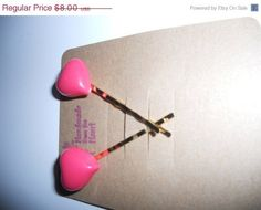30  off entire store Handmade Pink Heart hair bobby pins by EMTWTT, $5.60