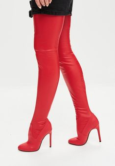 Missguided - Red Rounded Toe Thigh High Faux Leather Boots
