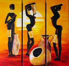 Femmes africaines tryptique (Painting), cm by Marguerite Rodriguez… African Artwork, African Art Paintings, Black Art Painting, Painting Of Girl, Sharpie Drawings, Art Drawings, Art Black Love, Afrique Art, Tribal African
