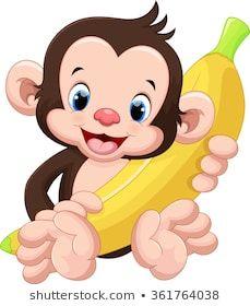 Illustration of Cute monkey holding a banana vector art, clipart and stock vectors. Cartoon Monkey, Cute Cartoon, Cartoon Art, Art Drawings For Kids, Animal Drawings, Cute Drawings, Jungle Animals, Baby Animals, Cute Animals