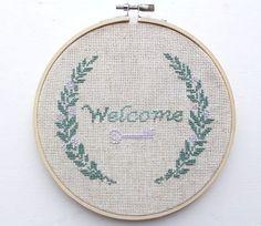 welcome my dear, cross stitch hoop art