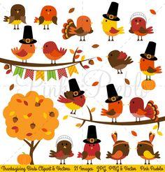 Thanksgiving Birds Clipart & Vectors by PinkPueblo on Creative Market