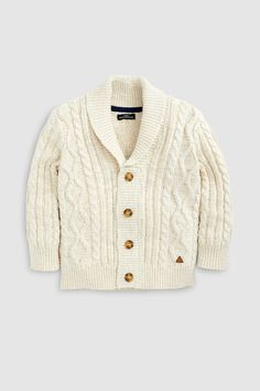 Buy Ecru Cable Knit Cardigan from the Next UK online shop Cable Knit Cardigan, Kids Fashion, Womens Fashion, Online Clothing Stores, Unisex, Next Uk, Simple Dresses, Boy Outfits, Knitting Patterns