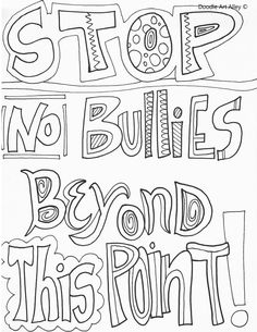 100% free coloring page of a Bullying Stops Here sign