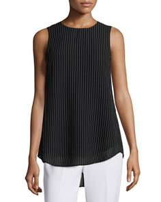 Brennia+V+Fogram+Striped+Sleeveless+Blouse,+Black/White+by+Theory+at+Neiman+Marcus+Last+Call.