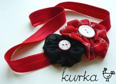 opaska handmade by kurka - czarny czerwony