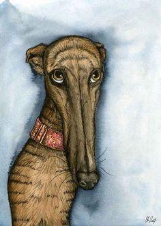 A Little Hope  Greyhound Art Dog Print by AlmostAnAngel66 on Etsy, £12.00